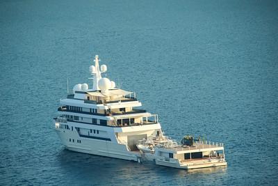 Puntarenas, Puntarenas / Costa Rica - March 27, 2021: Super Yacht Voyager in Costa Rica
