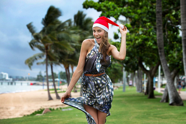 The delightful Miss Australia (2009), Rachael Finch prepares for Christmas at The Strand in Townsville. Picture: © Michael Chambers. December, 2011.