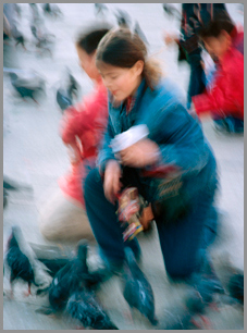 """Feeding the birds"", Venice multiple-exposure"