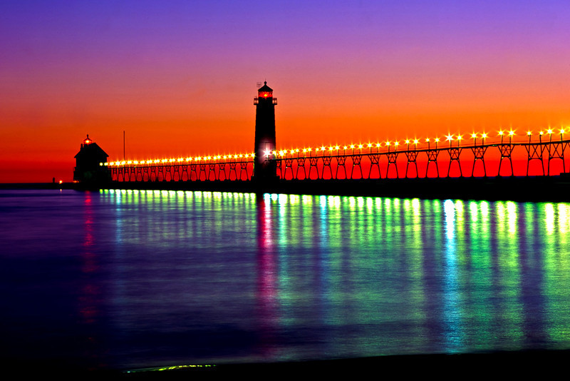 Grand Haven lights at Night