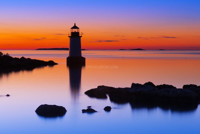 Fort Pickering Light Silhouette at Sunrise in Salem Massachusetts