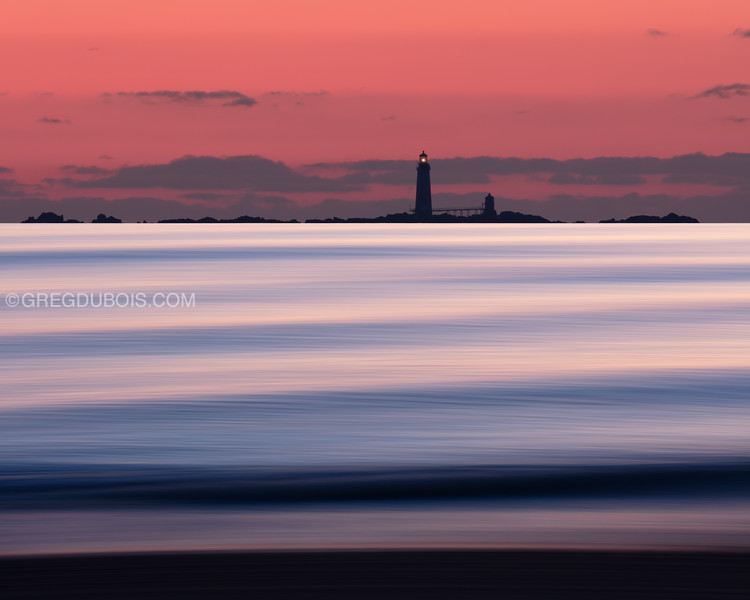 Graves Light Silhouette from Winthrop Beach at Sunrise with Pan Motion
