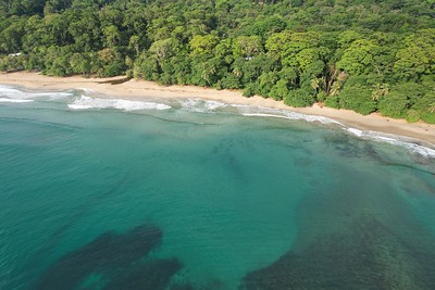 Caribbean Coast of Limon in Costa Rica -aerial views of Cocles, Punta Uva, Playa Chiquita and Puerto Viejo