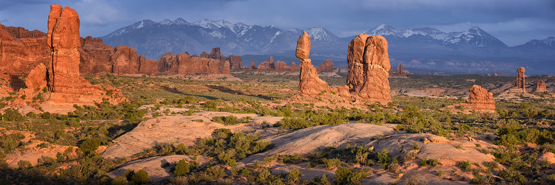 Arches National Park and the La Sal Mountains in the backgound.