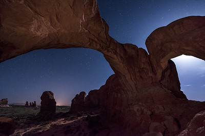 Double Arch under the Moonlit Sky, Arches National Park