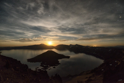 Moonrise over Crater Lake