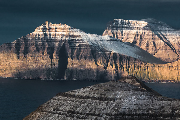 The islands, Kalsoy and Kunoy as seen from Slættaratindur, Faroe Islands