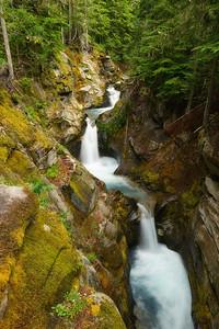 Van Trump Creek carves its way through the bedrock above Christine Falls, Mount Rainier National Park.
