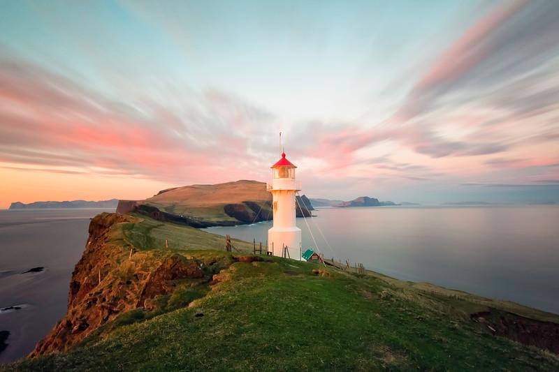 Mykineshólmur Lighthouse at Sunset.