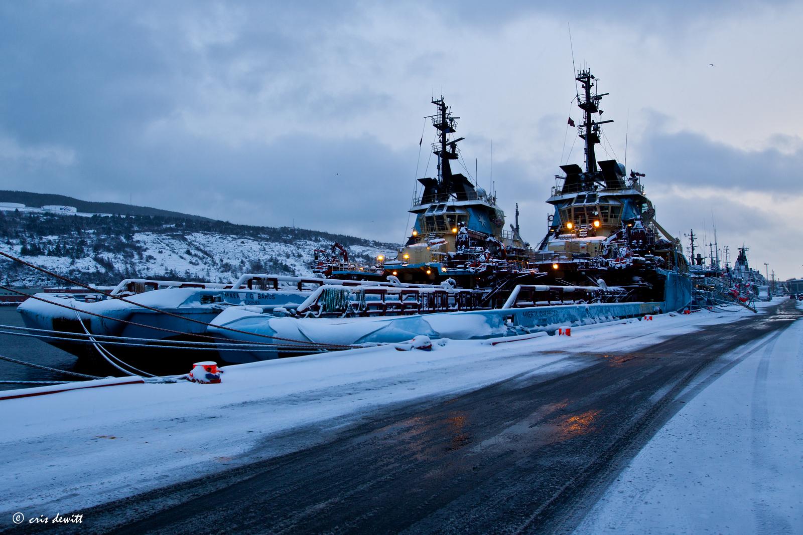 Massive offshore support vessels in St. John, Newfoundland
