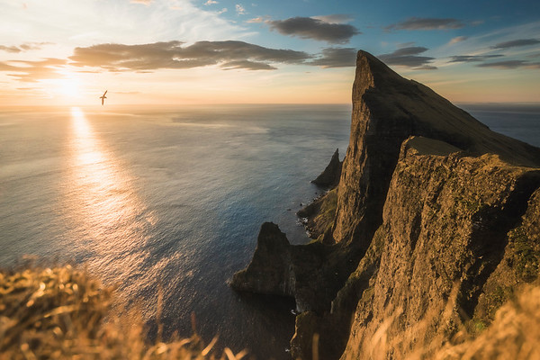 Mylingur, Faroe Islands at sunset.