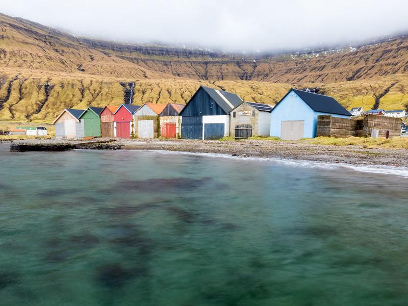 Colorful boat houses of Hósvík, Faroe islands.