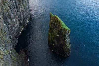 Ásmundarstakkur sea stack in Suduroy, Faroe Islands.