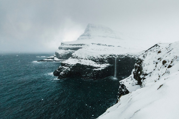 Snow storm at Gasadalur, Faroe islands.