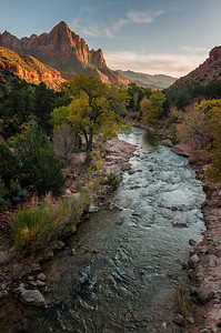 The Watchman and Virgin River at Sunset