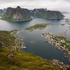 View from Mt. Reinebringen down to the village of Reine. Lofoten.