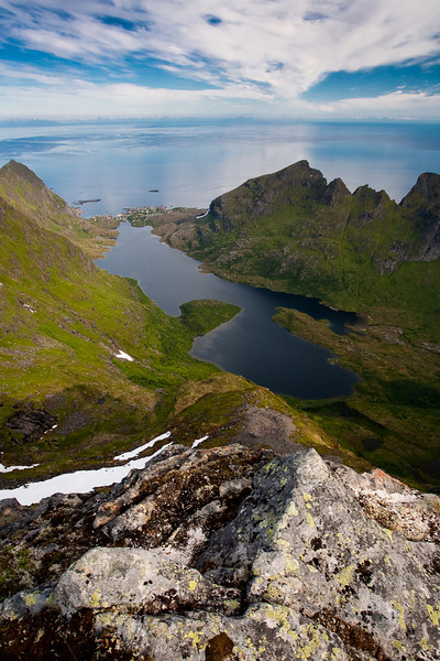 Lake Agvatnet and the village of Ä as seen from the summit of Mt. Mengeldalst, Lofoten.