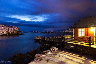 Norwegian cabin at twilight