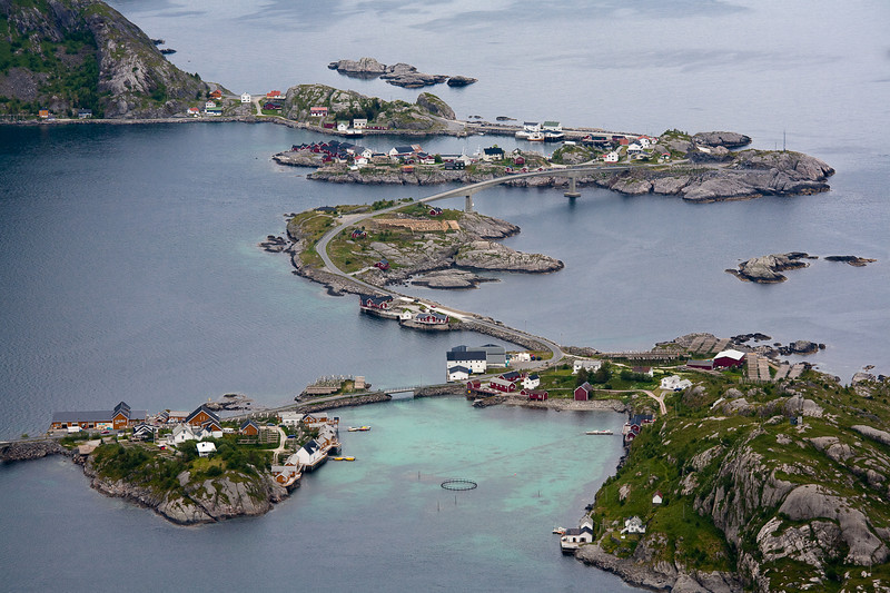 King Olaf's Way winding across the small islands at Hamnoy, Lofoten.