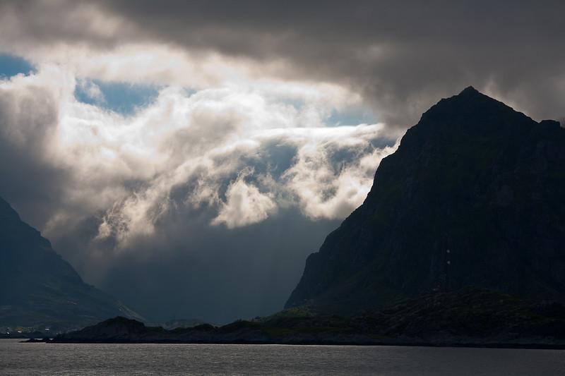 The Lofoten Islands as seen from the ferry from Bodo. Lofoten