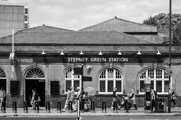 Stepney Green is in London's East End, one of the poorer areas of the city.  No tourists here, just a steady stream of everyday people going about their business.