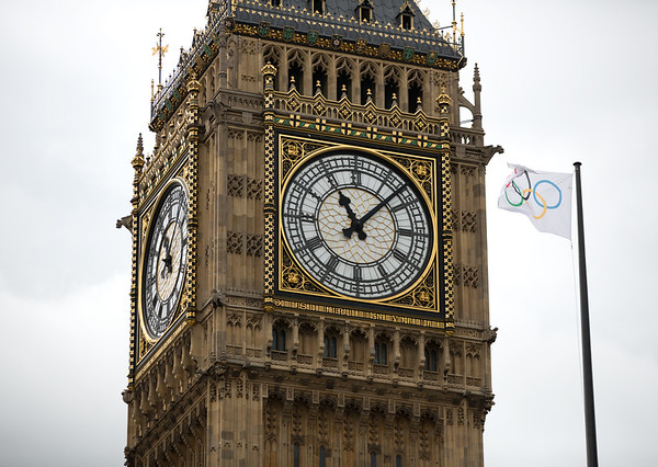 Big Ben and Olympic Flag, London