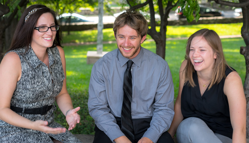 Three of my favorite percussionists (Jenny, Jeff, and Anna) enjoying the moment. Unpublished outtake from a photo shoot.