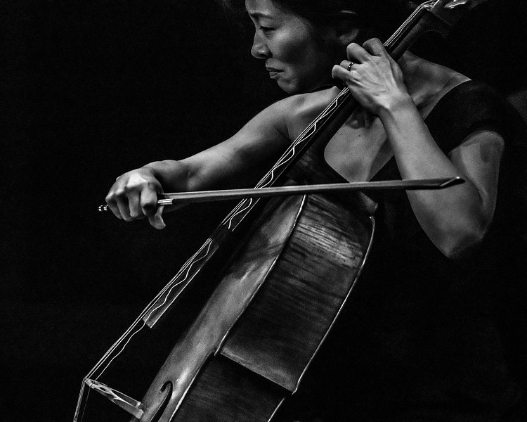Cellist Nina Lee plays with the Brentano String Quartet. Shutter speed .00025 seconds