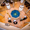 View down towards the baptismal font in Visitation Catholic Church. Spire Chamber Ensemble performing.