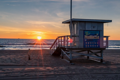 Lifeguards hut at sunset, Los Angeles