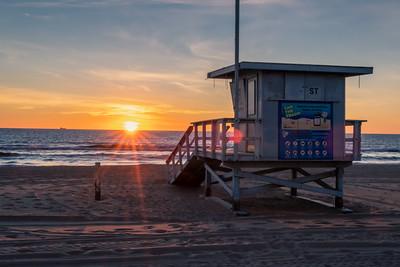 Lifeguards hut at sunset, Los Angeles