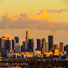 los angeles skyline - reflected sunset