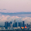 los angeles skyline - reflected sunset (added grain)