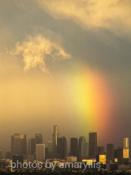 los angeles skyline - rain storm (added grain)