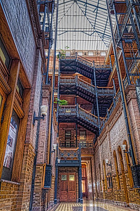 The Bradbury Building, built in 1893 is considered as one of the finest architectural masterpieces in Southern California. Downtown Los Angeles.