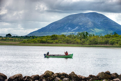 Flyfishing for trout Lough Conn, Mayo