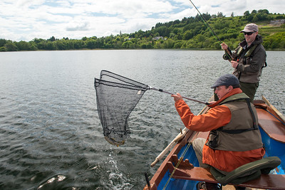 Netting a trout at Callow Loughs Mayo