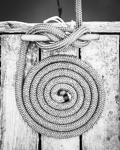 Coiled Rope on Weathered Dock, BnW