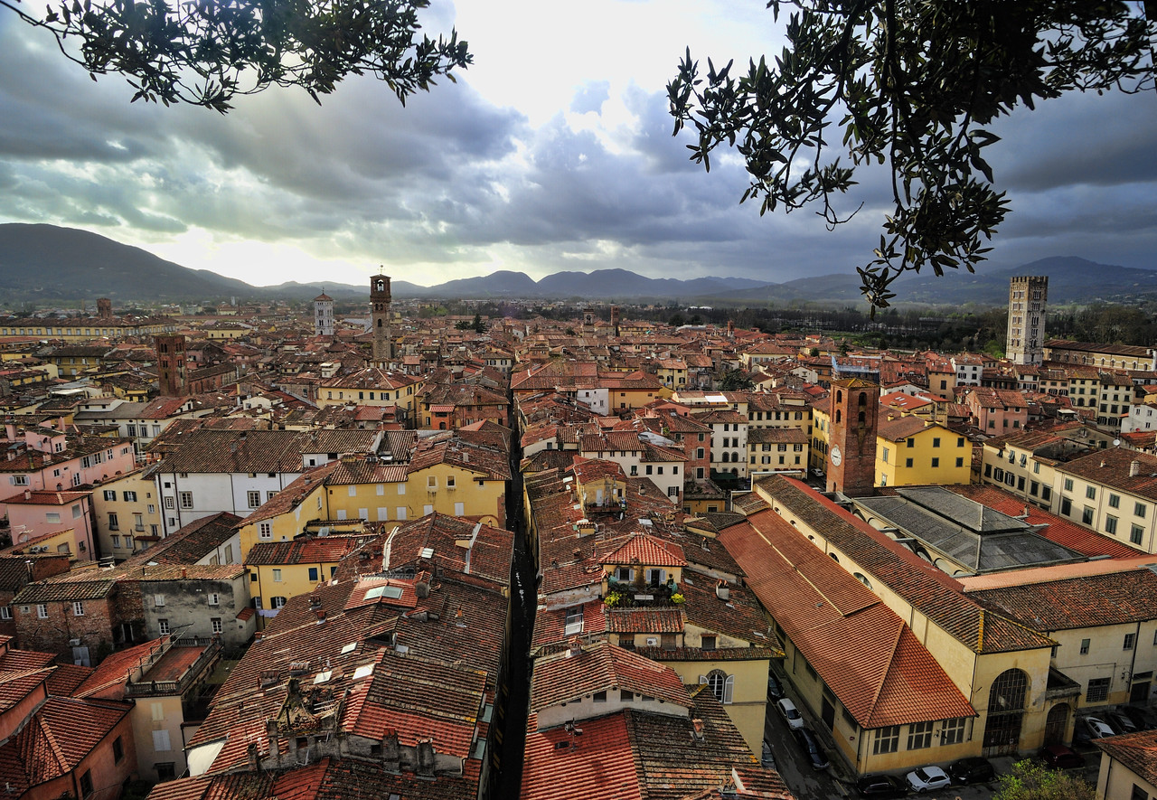 View from Guinigi Tower, Lucca, before the storm