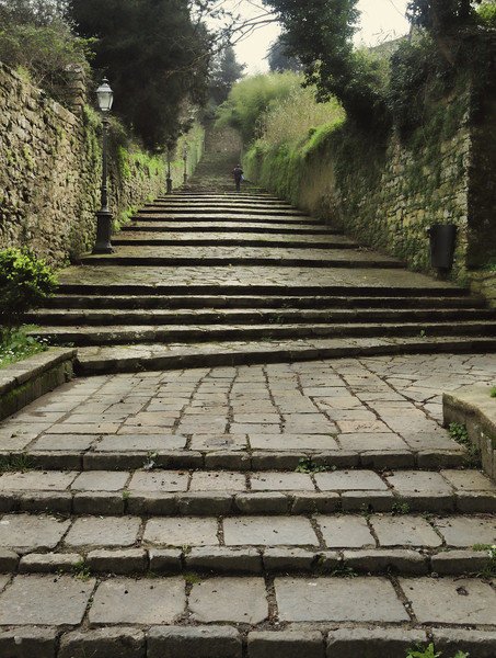 Long, shallow steps to access the spooky hilltown of Volterra