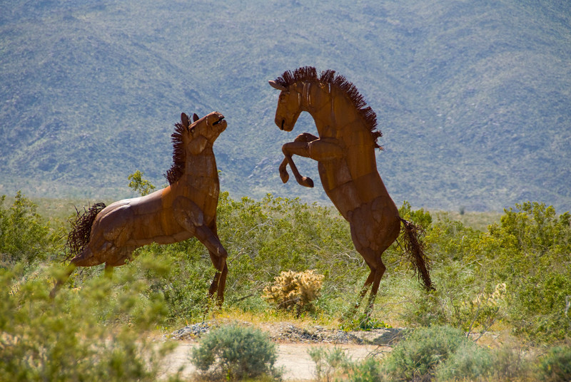 84/365<br /> A couple of a number metal sculptures by Ricardo Breceda that dot the landscape off of Borrego Springs Road.  There are many life size horses, elephants, camels, larger than life eagles and many more.  I didn't stop but at a few.