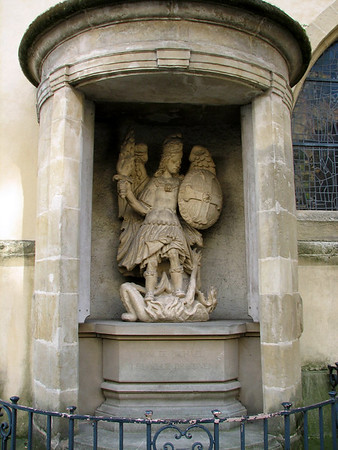 """Statue of """"Saint Michael the Repeller"""" overcoming a demon at the St. Michaels Church - Luxembourg City"""
