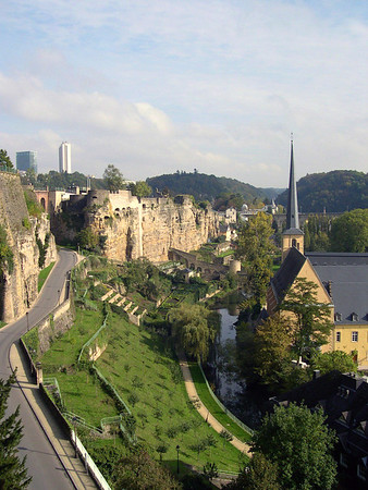 Neumünster Abbey along the Alzette River - with the Bock Promontory and Casemates at the Plateau Altmunster