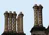 Ornate ceramic chimney stacks - atop the Grand Ducal Palace - Luxembourg City