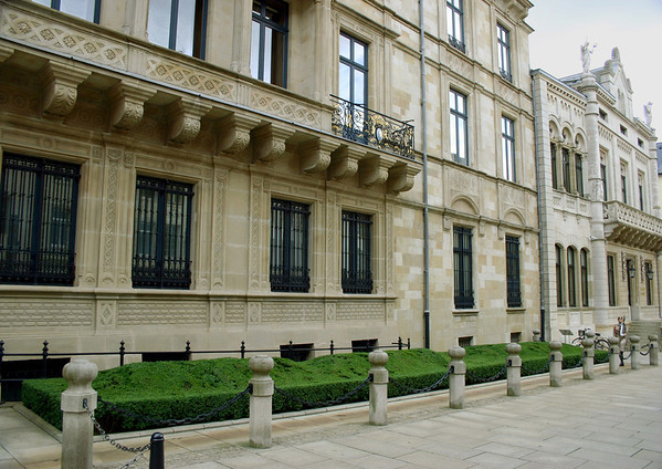 Grand Ducal Palace - and the adjacent Chamber of Duties (national legislature of Luxembourg, consisting of 60 seats, with deputies elected to serve 5 year terms) - Luxembourg City