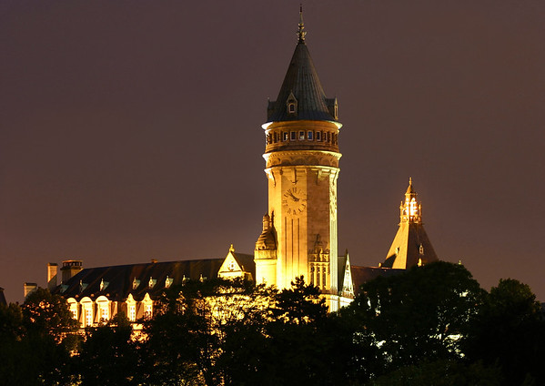 Dusk/after-dark - to the State Savings Bank's head office building and tower - Luxembourg City