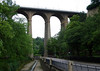 """Passerelle Bridge or Luxembourg Viaduct (also called the """"Old Bridge"""") - this road traffic bridge, is constructed of pillars standing 98 ft. (30 m) tall, with arches spanning 49 ft. (15 m), and a total height of 148 ft. (45 m) - which connects the city center (Ville Haute, quarters) with the new railway station - Luxembourg City"""