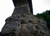 """Up the sandstone ledge in the Pétrusse Valley - to the stone pillar and arch's springers (first stones atop the pillar) of the Passerelle Bridge or Luxembourg Viaduct (also called the """"Old Bridge"""") - Luxembourg City"""