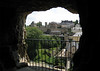 Viewing out one of the gallery openings of the Casemates of the Rocher du Bock - across the Alzette River below - to the Plateau du Rham, and parts of the old fortress wall