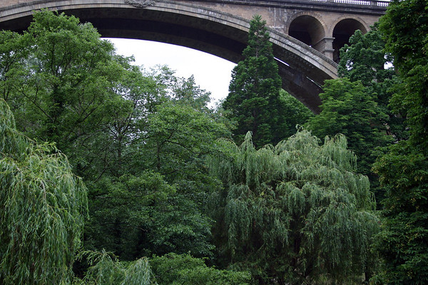 Adolphe Bridge, also called the New Bridge (northern span) - from the Pétrusse Valley - Luxembourg City